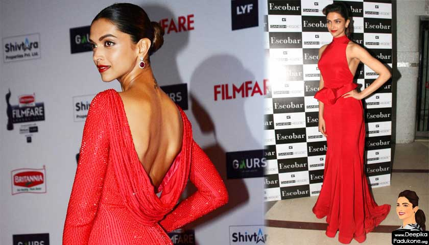 Deepika Padukone in red gown