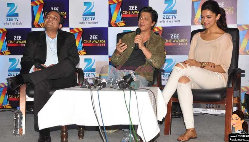 Shah Rukh Khan and Deepika Padukone at the Zee Cine Awards press conference