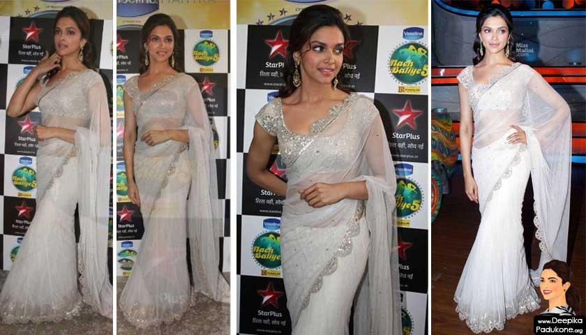 Deepika Padukone White Designer Saree